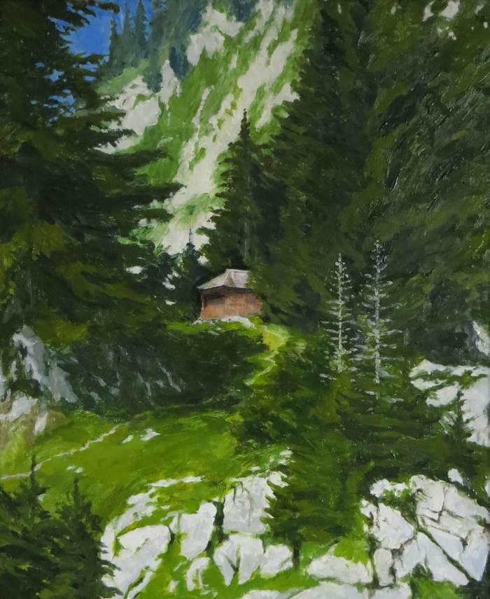 Chalet aux Cornettes de Bise, 2018, huile sur toile, 60 x 50cm
