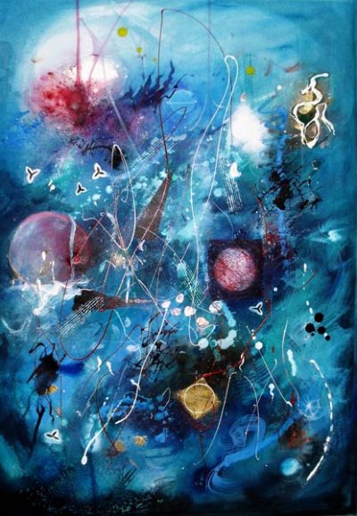 GrayCeridwenJaneIn The Beginning. Image 72 x 52cms.Framed size 97x77cms Acrylic on paper_
