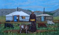 Jeremy-Bear-Mongolian-Herder-with-Gers-and-Goats-acrylic-on-canvas