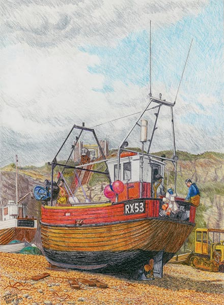 Jeremy-Bear-RX-53-Hastings-Fishing-Boat-acrylic-on-canvas