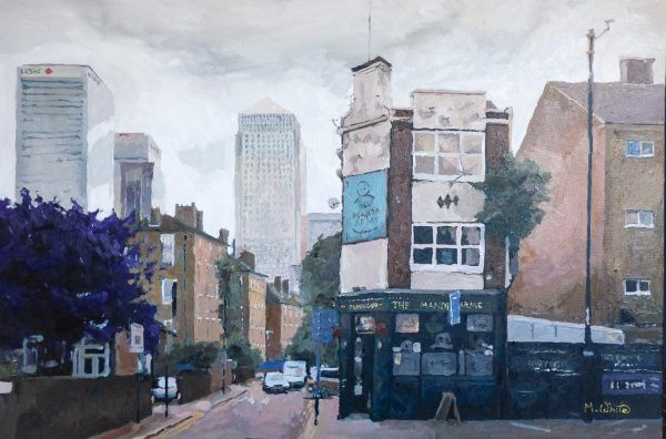 The Manor Arms by Max White depicts a modest scene of an area of Tower Hamlets in London, near Poplar, Isle of Dogs