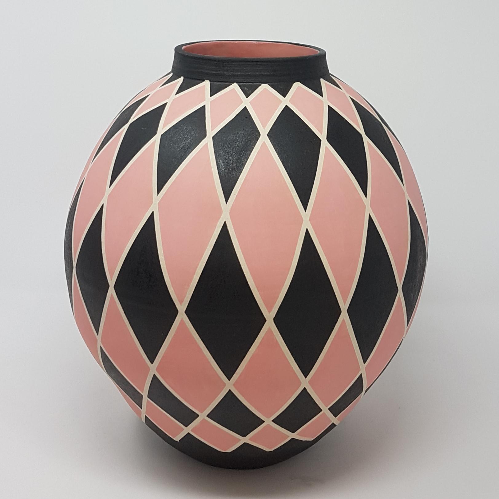 PINK HARLEQUIN MOON JAR BY JANE BRIDGER