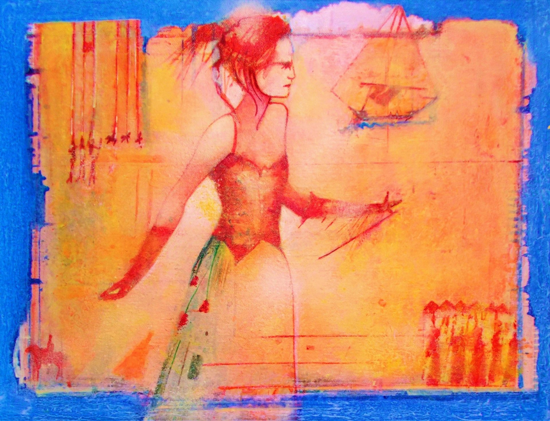the Puppeteer, Acrylic on Canvas, 16in x 12in by Gerard Tunney £450